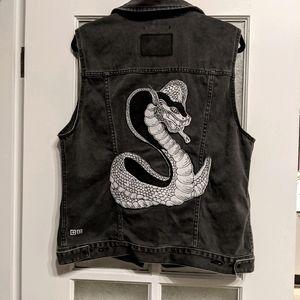 Ksubi black distressed rocker denim jacket vest